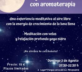 Cartel sesión meditación bajo la luna con aromaterapia